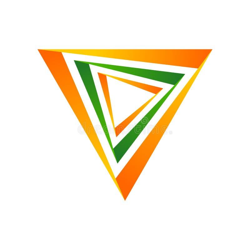 Multi símbolo Logo Design do triângulo das dimensões ilustração do vetor