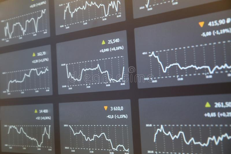 Multiple stock market charts on one screen. Multi-screen with stock market charts. multiple stock market charts on one screen stock images
