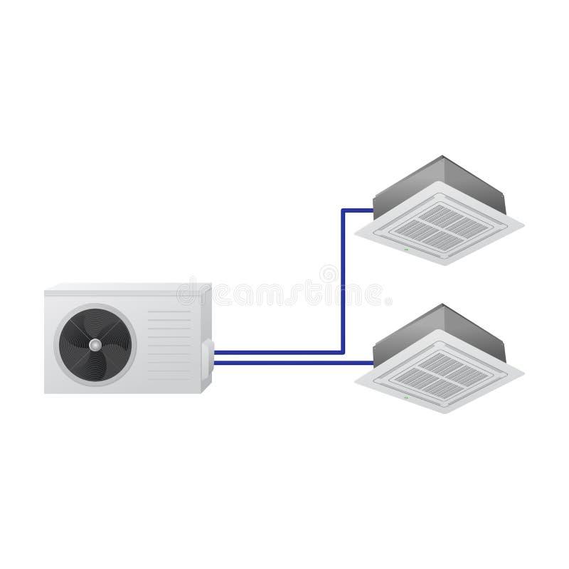 Multi sistema di condizionamento d'aria di spaccatura illustrazione di stock