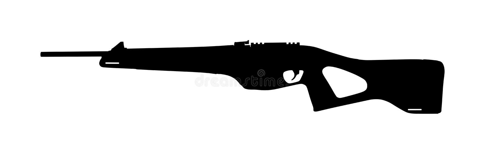 Rifle  silhouette isolated on white. Hunting rifle silhouette symbol. Semi automatic carbine. Army and police weapon. royalty free stock photos