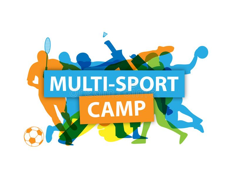 `MULTI-SPORT CAMP` banner with silhouettes taking part in various sports vector illustration