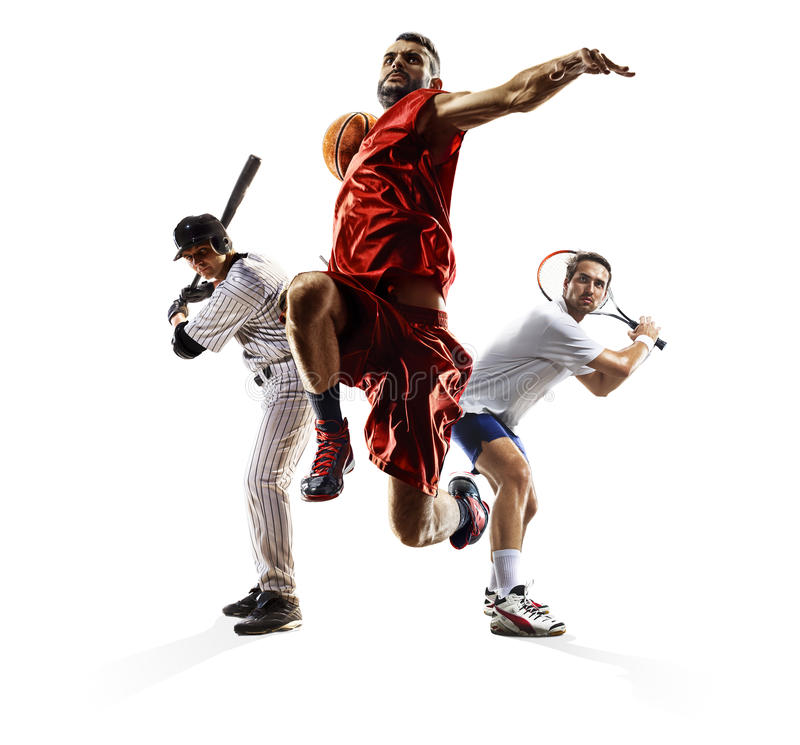 Multi sport collage baseball tennis bascketball royalty free stock images