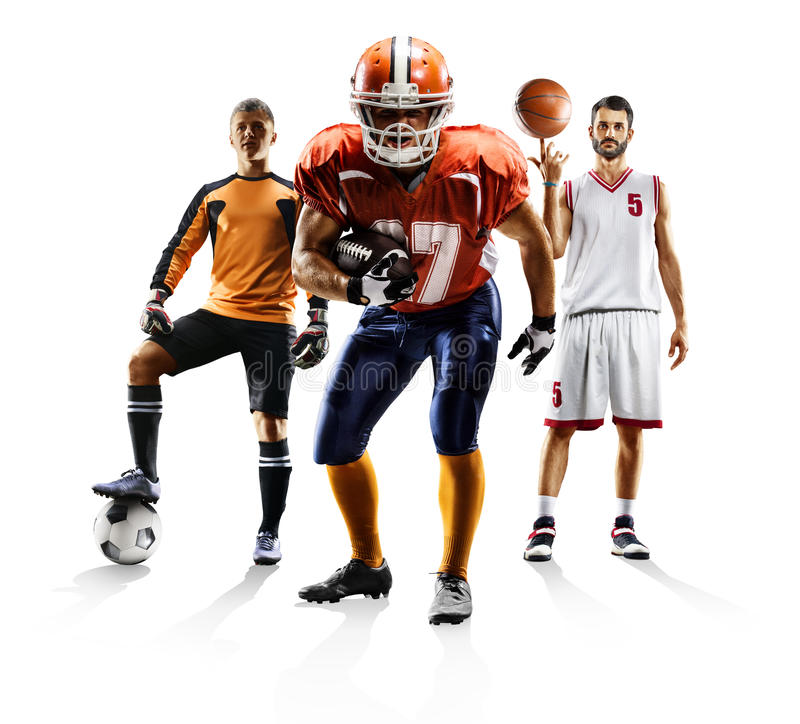 Multi sport collage soccer american football bascketball stock photo