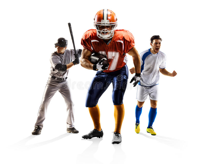 Multi sport collage soccer american football baseball royalty free stock photography