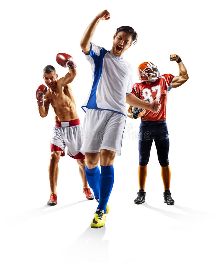 Multi sport collage soccer american football boxing royalty free stock photos
