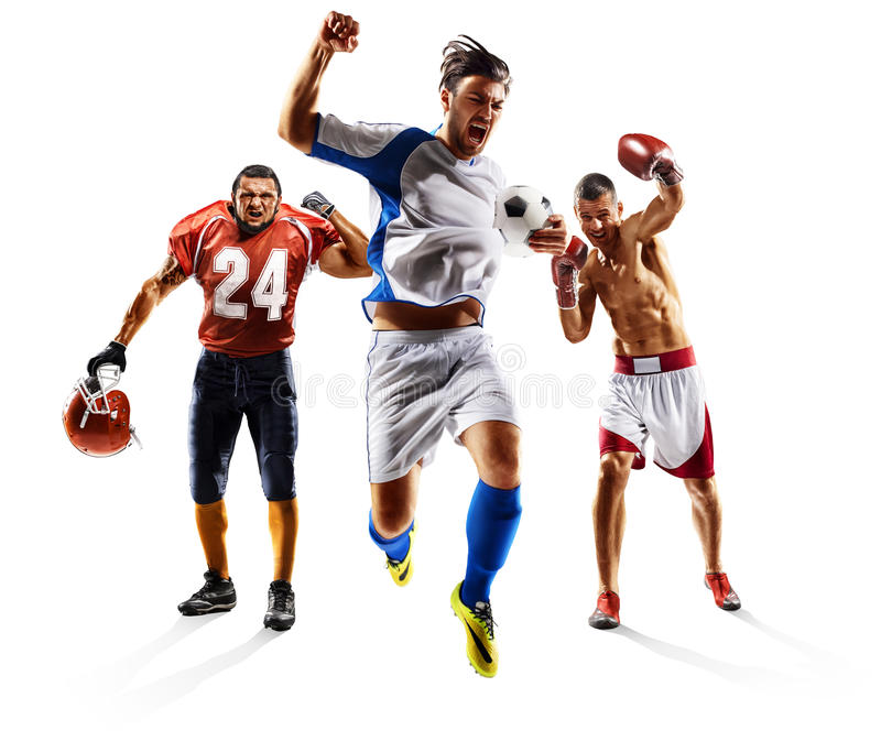 Multi sport collage soccer american football boxing stock photos