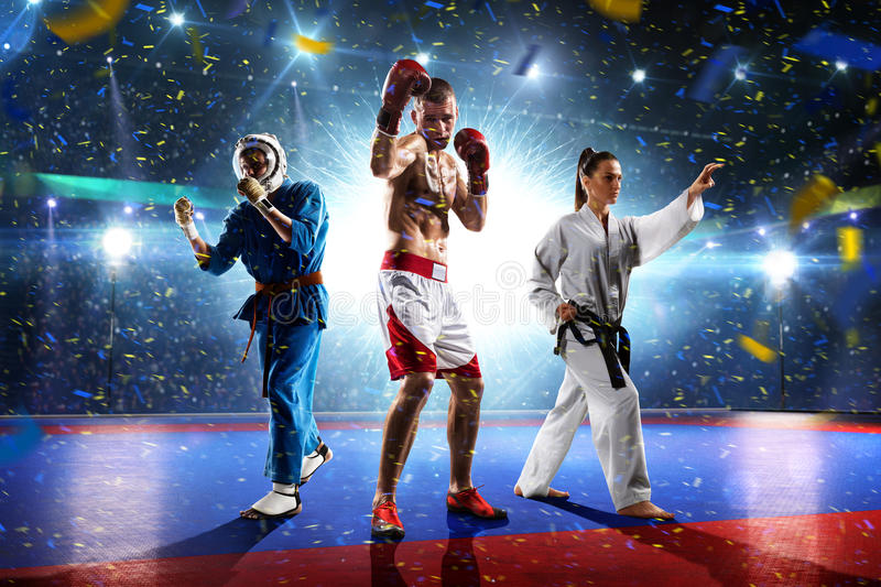 Multi sports boxing karate taekwondo collage on grand court. Multi sports boxing karate taekwondo collage on the grand court stock image