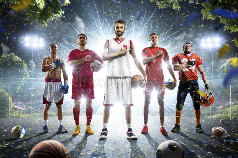 Multi sports collage boxing basketball soccer football volleyball royalty free stock photos