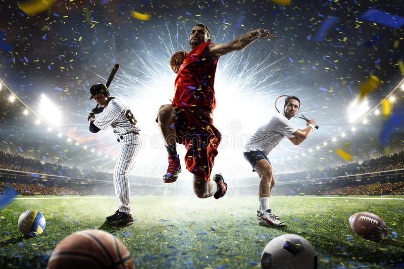 Multi sports players in action collage on grand arena stock photography