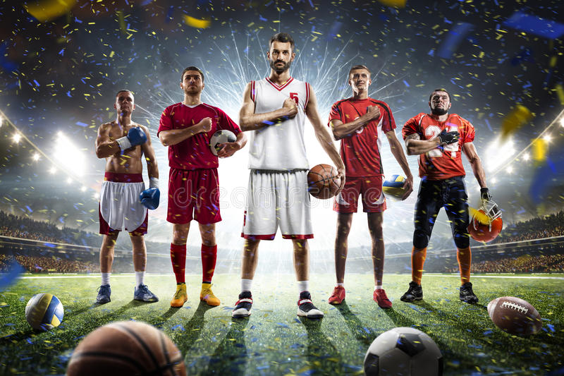 Multi sports proud players collage on grand arena royalty free stock photos