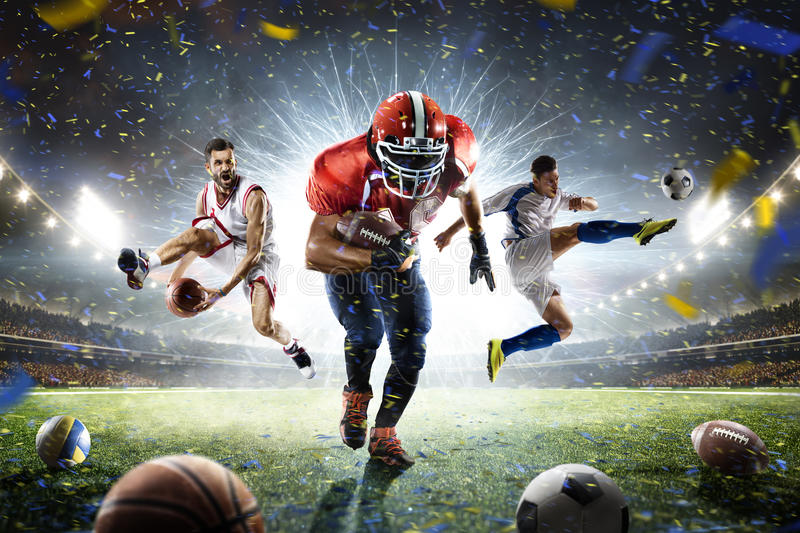 Multi sports proud players collage on grand arena royalty free stock photography