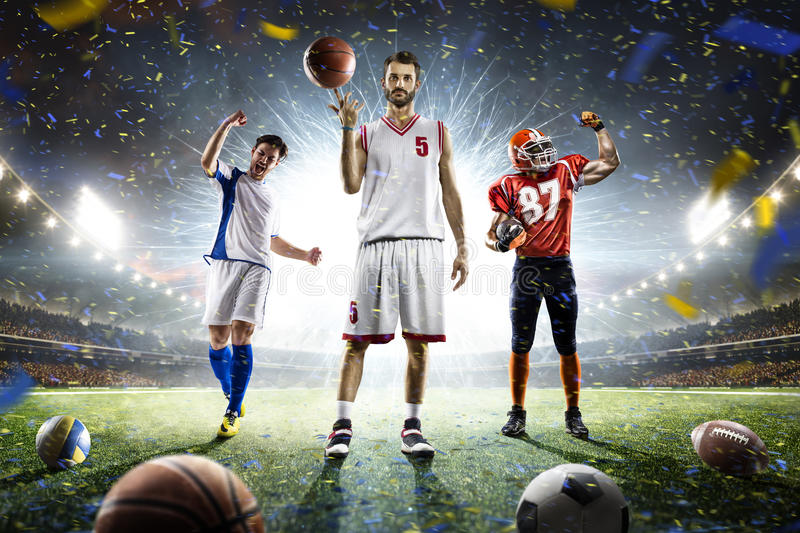 Multi sports proud players collage on grand arena royalty free stock images