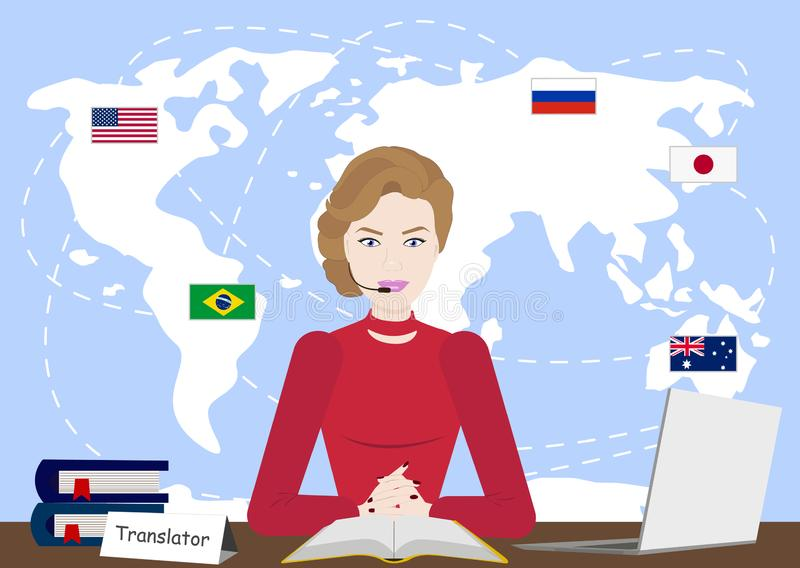 Multi Sprachübersetzer-Konzeptillustration Mädchen auf Computer verschiedene Sprachen unter Verwendung Übersetzungs-APP sprechend stock abbildung