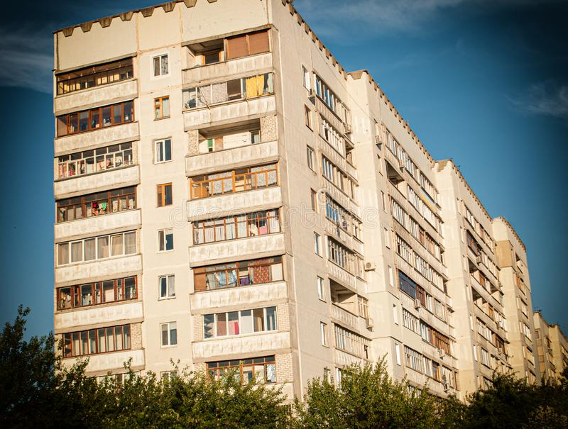 Multi-storey building, modern residential building with balconies and windows. Multi-storey building, modern residential building with balconies royalty free stock images