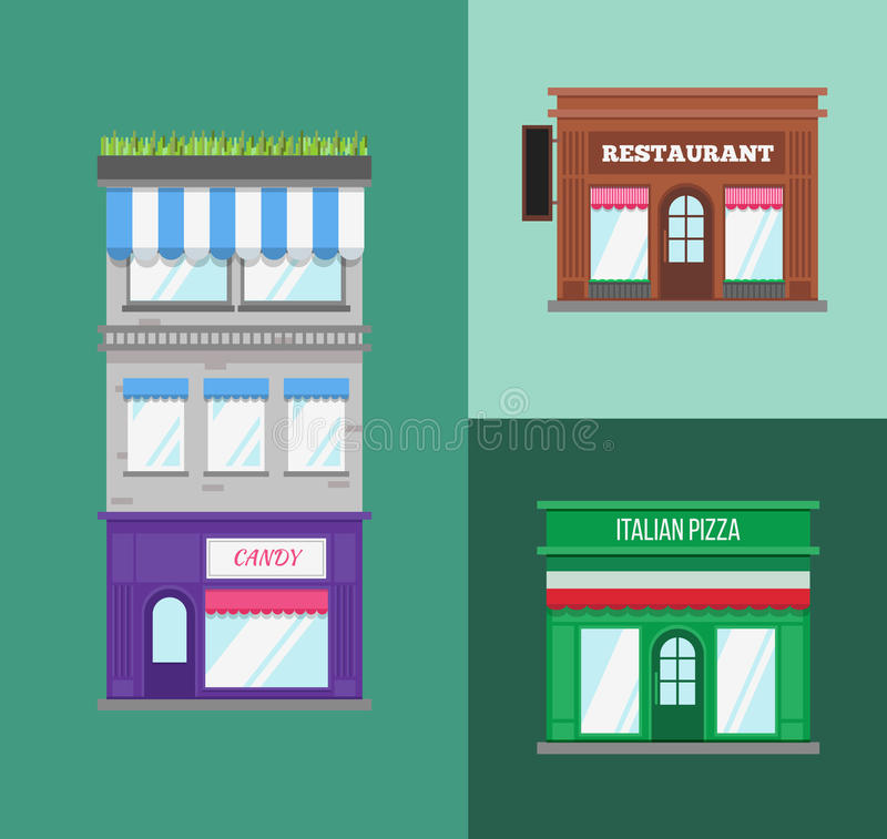 Multi-storey building with roof terrace and shop royalty free illustration