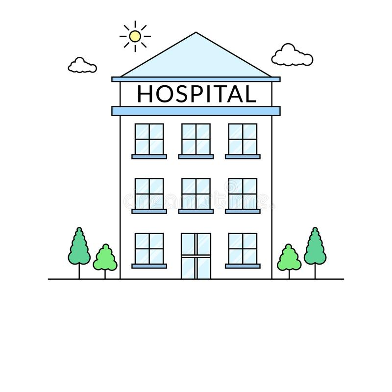 Multi-storey hospital building line strokes illustration stock illustration