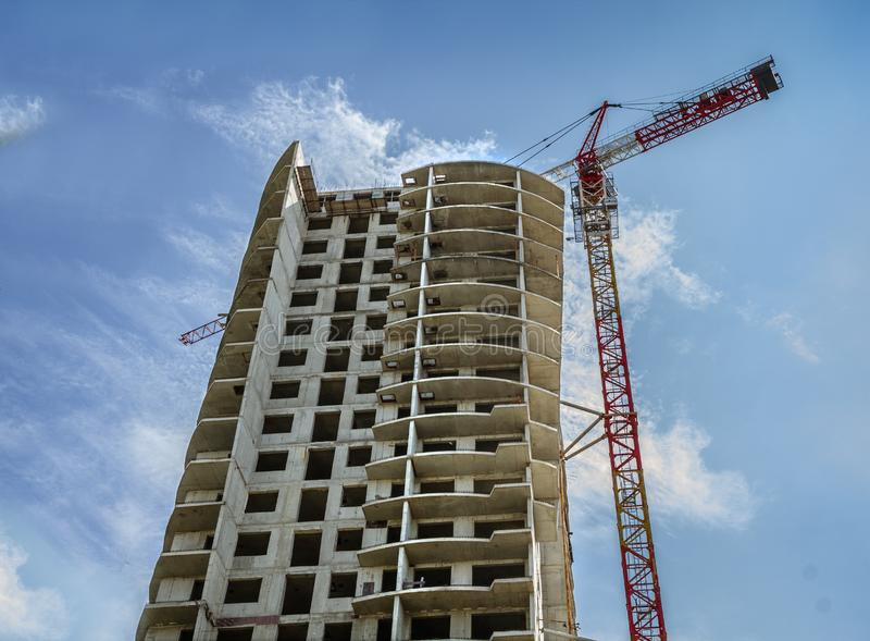Multi-storey house is built within the city limits. Multi-storey panel house is built within the city limits stock photo
