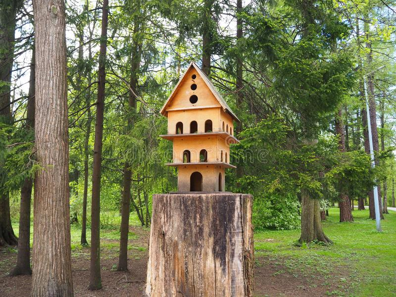 Multi-storey wooden carved birdhouse on a tree stump, a feeder for birds. In the park stock image