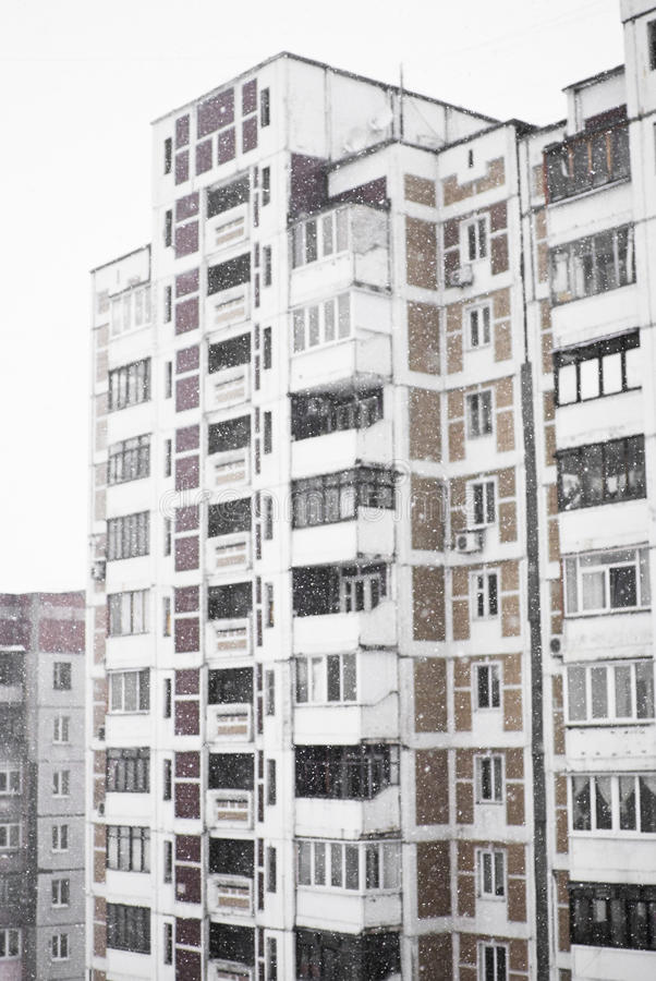 Download Multi-storied Home In Heavy Snowfall Stock Image - Image: 18777979