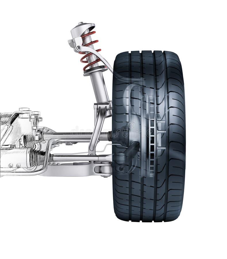 Multi suspensão do carro da parte dianteira da relação, com freio. ilustração stock
