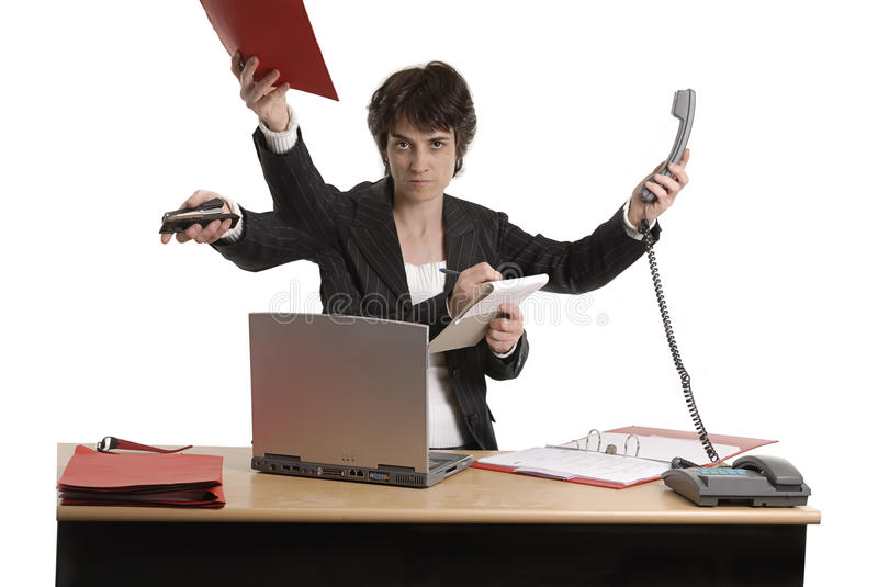 Multi-task Business Woman Royalty Free Stock Photo