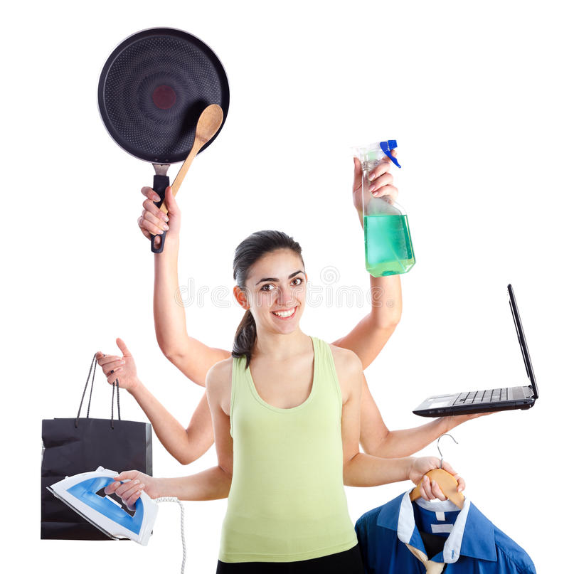 Multi-tasking vrouw royalty-vrije stock foto