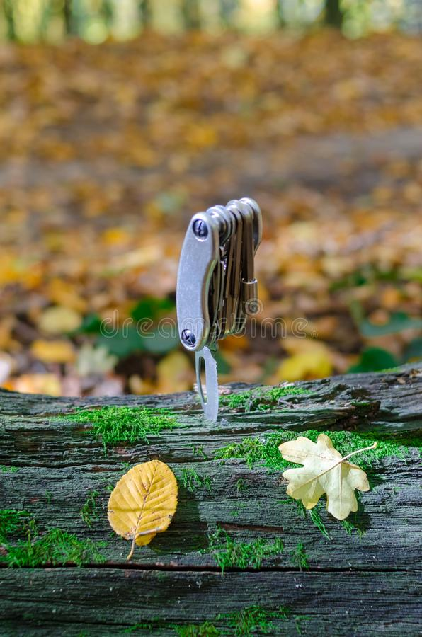 Multi tool on a large moss-covered timber.  royalty free stock photo