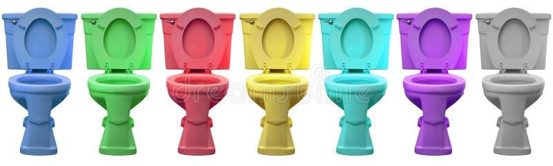 Multi trono della porcellana della testa del Commode della toletta di colore immagini stock libere da diritti