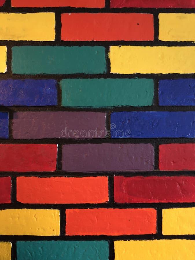 Multicolor ściana z cegieł zdjęcia royalty free