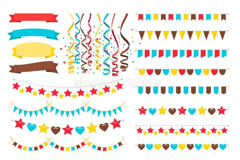 Multicolor гирлянды, флаги и вымпел бесплатная иллюстрация