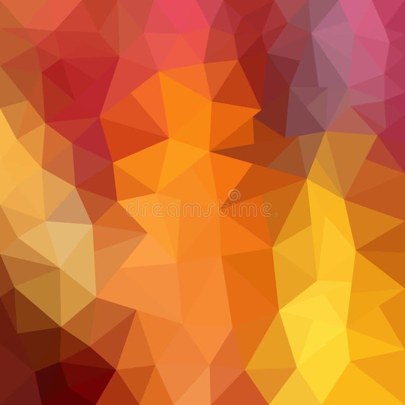 Multicolor красная, желтая, оранжевая полигональная иллюстрация, которая состоит из треугольников Геометрическая предпосылка в ст иллюстрация штока