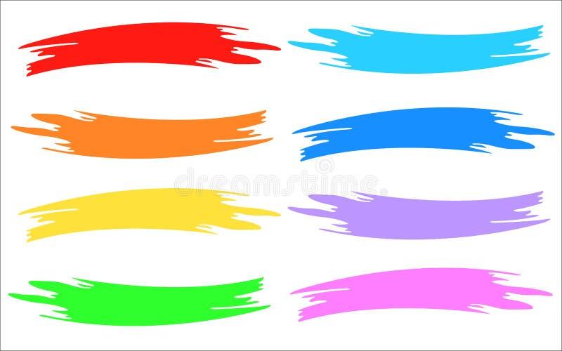 Multicolor образцы краски прокладки щетки иллюстрация вектора