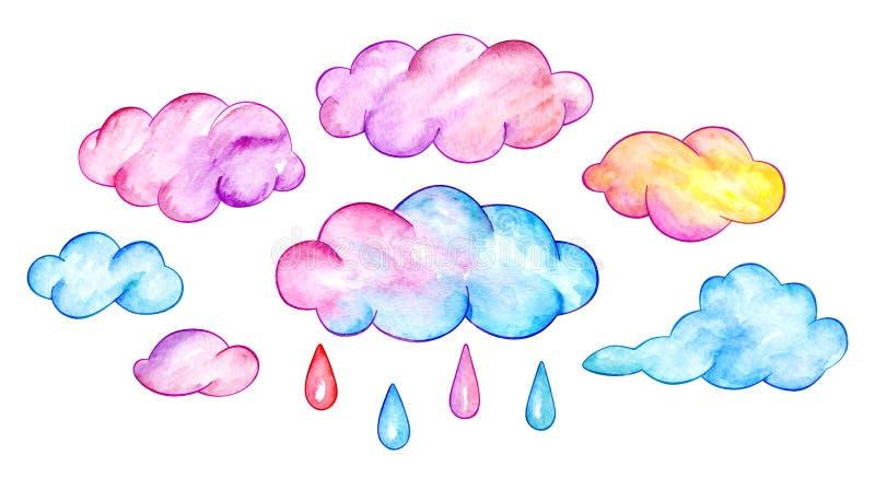 Multicolor облака и падения дождя Смешное небо шаржа изображение иллюстрации летания клюва декоративное своя бумажная акварель ла бесплатная иллюстрация