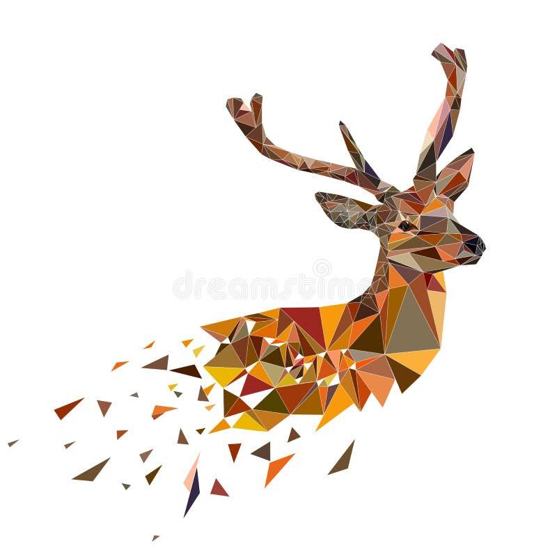Multicolor полигональные олени стоковые фотографии rf