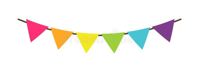 Multicolor триангулярные яркие бумажные флаги гирлянд иллюстрация штока