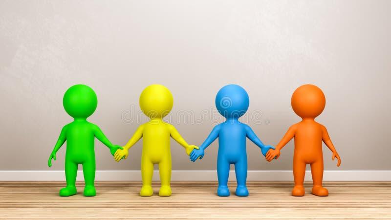Multicolor характеры человека 3D держа руки в комнате иллюстрация вектора