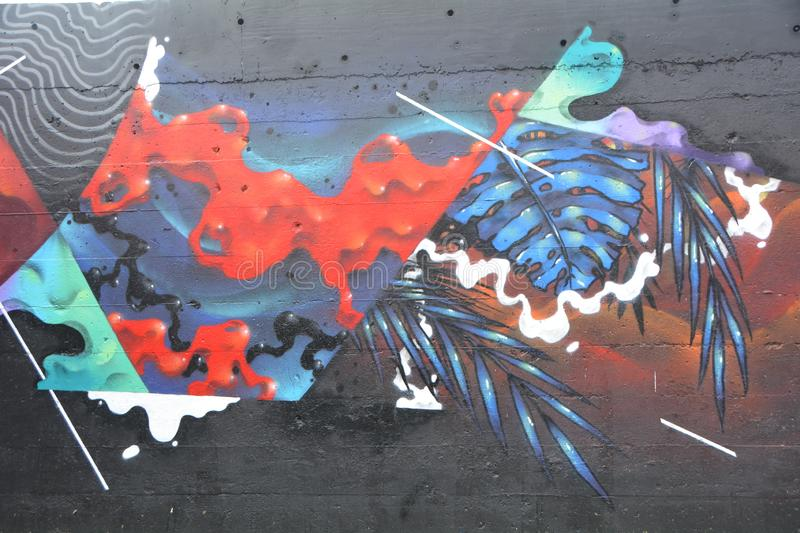 Multicolor abstract graffiti in SE Portland, Oregon. This is multicolored abstract graffiti decorating a building wall in SE Portland, Oregon`s industrial area royalty free stock images