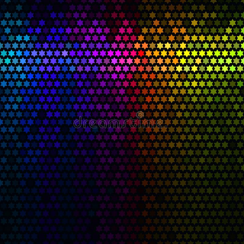 Multicolor abstract lights disco background. Star pixel mosaic vector. stock illustration