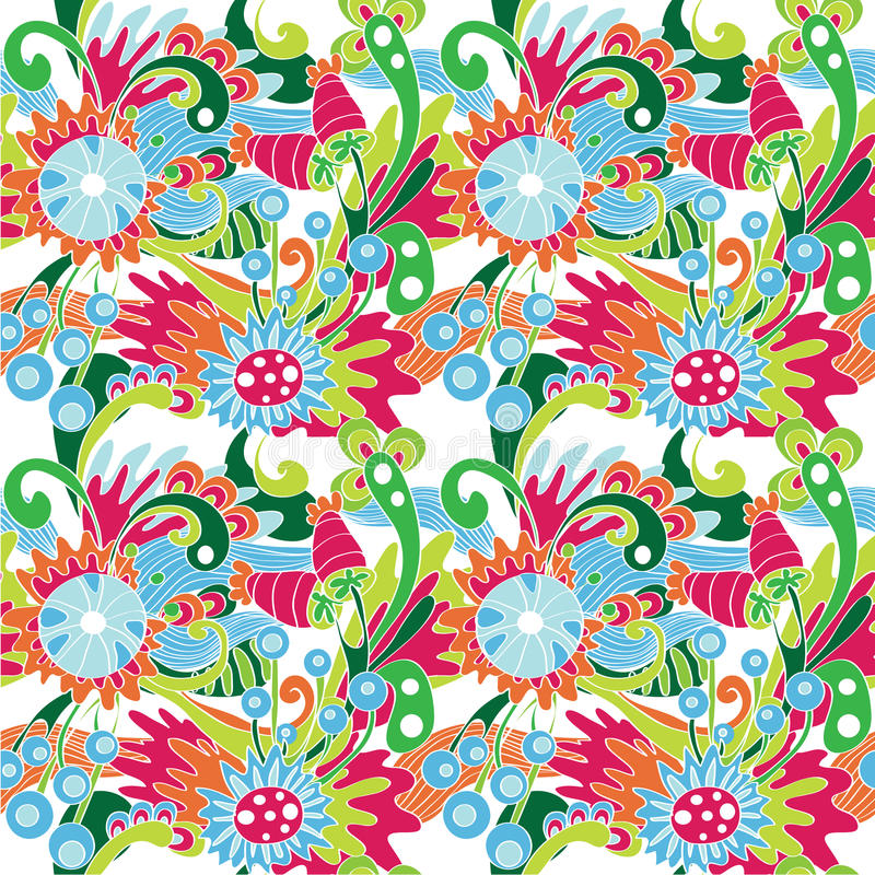 Download Multicolor Abstract Pattern With Flowers Stock Illustration - Illustration of illustration, curtain: 32009323