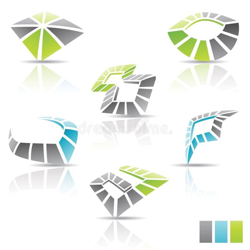 multicolor abstrakt symboler 3d royaltyfri illustrationer