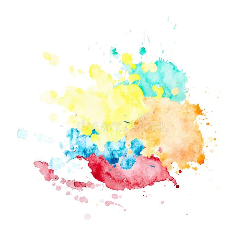 Multicolor akwareli plamy round kształt royalty ilustracja
