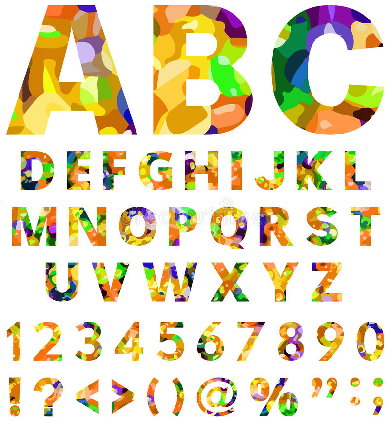 Multicolor alphabet. From A to Z with numbers and symbols vector illustration