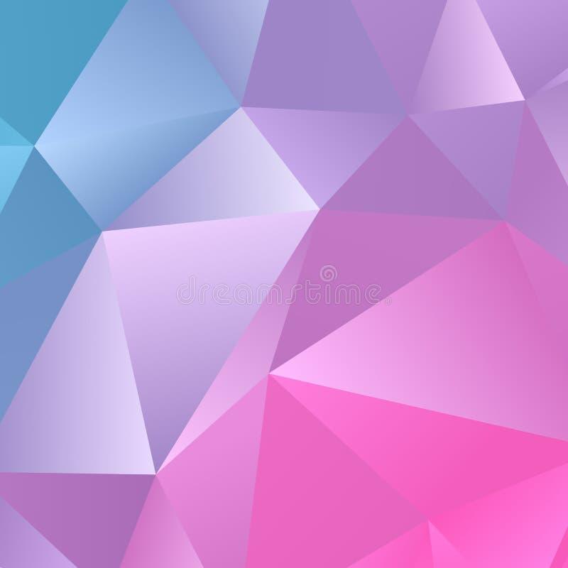 Multicolor błękit menchii magenta gradientowy geometryczny wzór Triangl ilustracja wektor