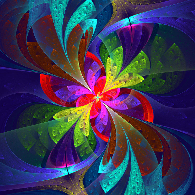 Multicolor beautiful fractal flower. royalty free illustration