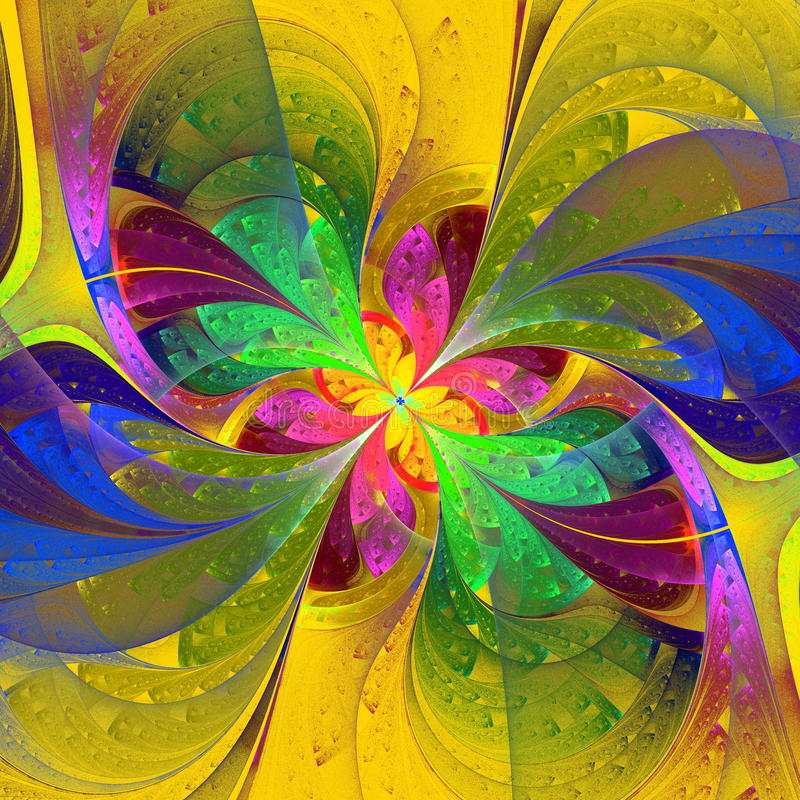 Multicolor beautiful fractal flower on yellow background. Computer generated graphics. vector illustration