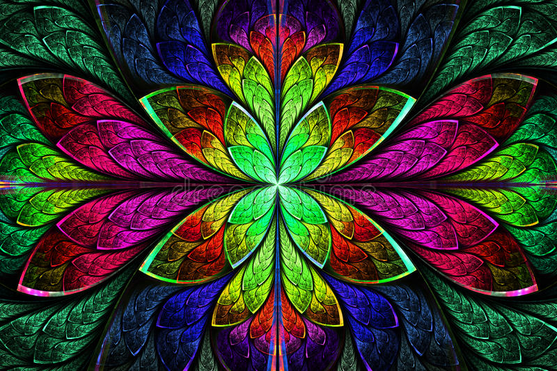 Multicolor beautiful fractal pattern. Computer generated graphic royalty free illustration