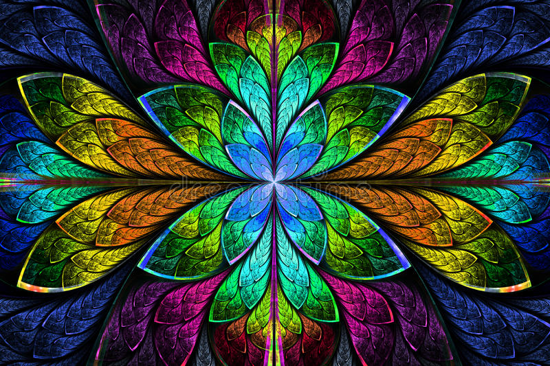 Multicolor beautiful fractal pattern. Computer generated graphic vector illustration