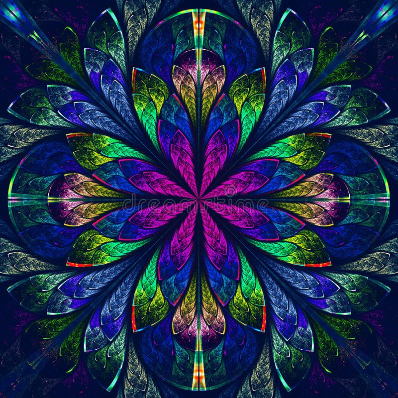 Multicolor beautiful fractal in stained glass window style. Comp vector illustration