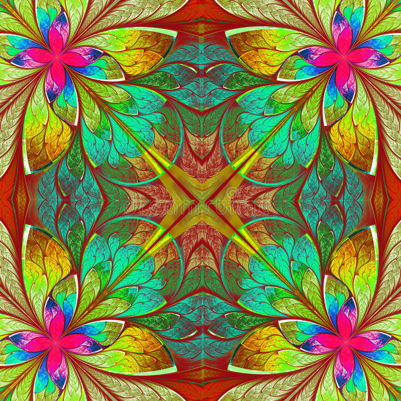 Multicolor beautiful fractal in stained glass window style. Comp stock illustration
