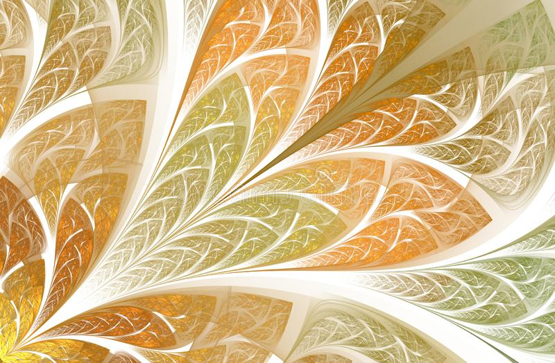 Multicolor beautiful Tree foliage. Computer generated graphics. Multicolored floral pattern in stained-glass window style. Symmetrical fractal pattern stock illustration